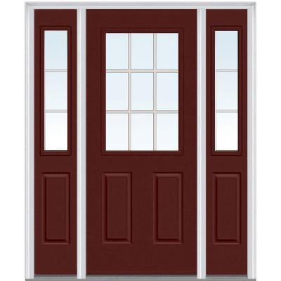 60 in. x 80 in. Classic Clear Glass GBG 1/2 Lite Painted Fiberglass Smooth Prehung Front Door with Sidelites