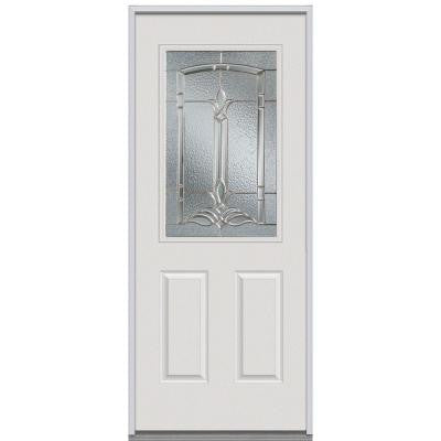 34 in. x 80 in. Bristol Decorative Glass 1/2 Lite 2-Panel Primed White Steel Replacement Prehung Front Door
