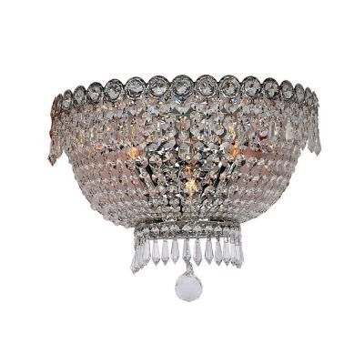 Empire 3-Light Chrome Sconce with Clear Crystal