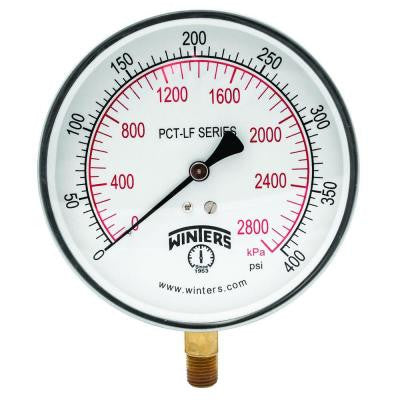 PCT-LF Series 4.5 in. Lead-Free Brass Stainless Steel Pressure Gauge with 1/4 in. NPT LM and 0-400 psi/kPa