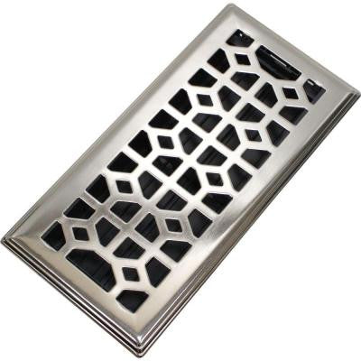 Abstract 3 in. x 10 in. Steel Floor Register in Brushed Nickel