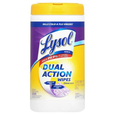 Citrus Scent Dual Action Disinfecting Wipes (75-Count)