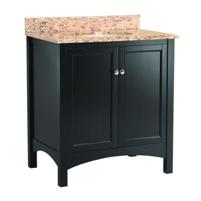 Haven 31 in. W x 22 in. D Vanity in Espresso with Vanity Top and Stone Effects in Santa Cecilia