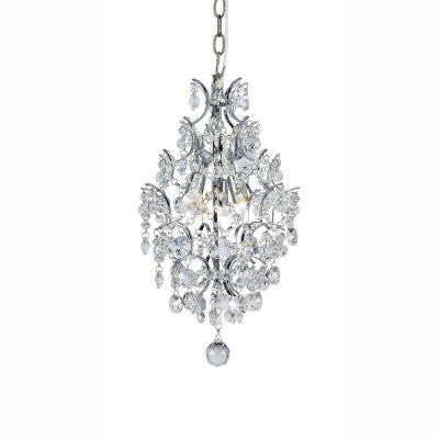 3-Light Chrome Crystal Branches Pendant