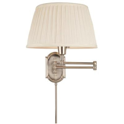 1-Light Brushed Nickel Swing Arm Wall Lamp