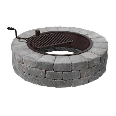 Grand Fire Pit 48 in. Concrete Fire Pit in Blue Stone with Cooking Grate