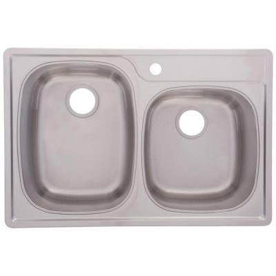 Top Mount Stainless Steel 33x22x9.5 1-Hole 18-Gauge Offset Double Bowl Kitchen Sink with Satin Finish