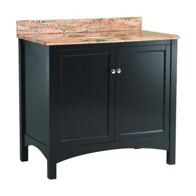 Haven 37 in. W x 22 in. D Vanity in Espresso with Vanity Top and Stone Effects in Bordeaux