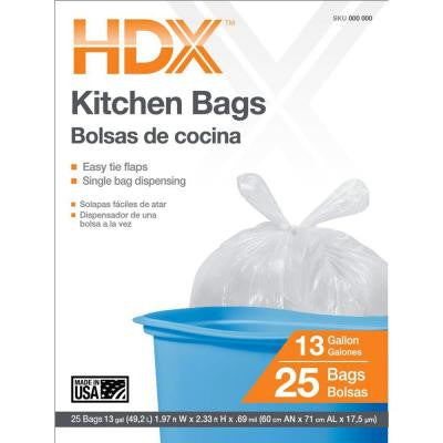 13 Gal. Kitchen Trash Bags with Flap Tie (25-Count)