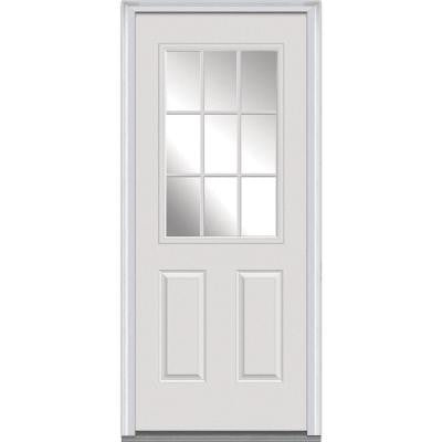 34 in. x 80 in. Classic Clear Glass 9 Lite Primed White Fiberglass Smooth Prehung Front Door with External Wood Grille