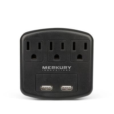 3 AC Outlet and 2-USB Port 2.1-Amp Power Charging Station - Black