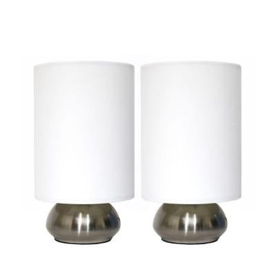 Gemini 9 in. Two (2) Pack Mini Touch Lamp with Brushed Steel Base and Ivory White Fabric Shades