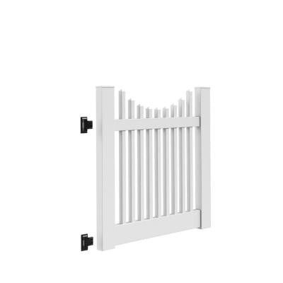 Kettle Scallop 4 ft. x 4 ft. White Vinyl Un-Assembled Fence Gate