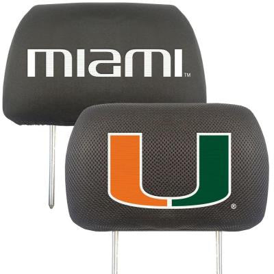 NCAA -University of Miami Head Rest Cover (2-Pack)