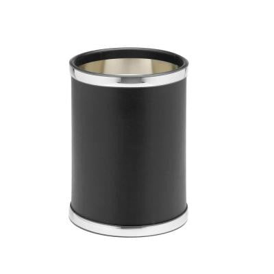 Sophisticates 10 in. Black with Polished Chrome Round Trash Can