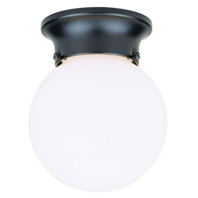 1-Light Black Flush-Mount Exterior Fixture with White Glass Globe