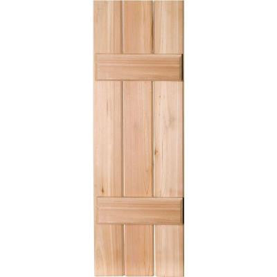 12 in. x 59 in. Exterior Real Wood Western Red Cedar Board and Batten Shutters Pair Unfinished