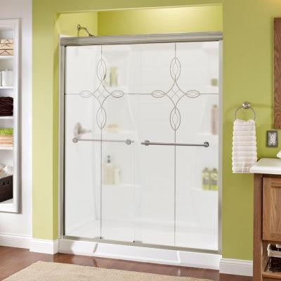 Lyndall 60 in. x 70 in. Semi-Framed Sliding Shower Door in Nickel with Tranquility Glass