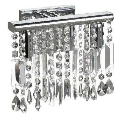 Bohemian 2-Light Polished Chrome Vanity Light with Crystals