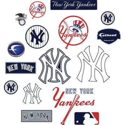 40 in. x 27 in. New York Yankees Team Logo Assortment Wall Decal