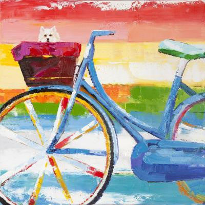 "24 in. x 24 in. ""Summer Biking"" Hand Painted Contemporary Artwork"