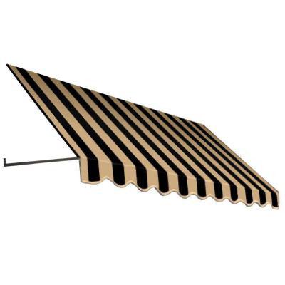 10 ft. Dallas Retro Window/Entry Awning (24 in. H x 36 in. D) in Black/Tan Stripe