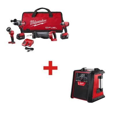 M18 FUEL 18-Volt Lithium-Ion Brushless Combo Kit (4-Tool) with M18 Jobsite Radio/Charger
