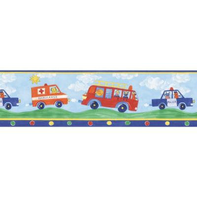 6 in. Fire Engines Blue Fire Truck Border