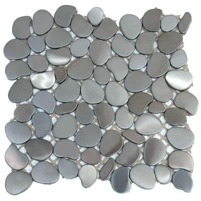 Metal Freeform Astro 11 in. x 11 in. x 6.35 mm Stainless Steel Mosaic Wall Tile (8.4 sq. ft. / case)