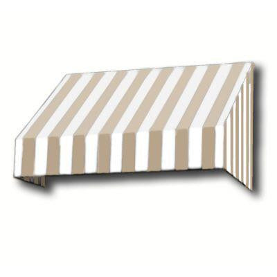 3 ft. San Francisco Window/Entry Awning (18 in. H x 36 in. D) in Linen/White Stripe