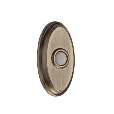 Wired Oval Bell Button - Matte Brass and Black