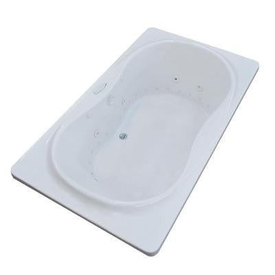 Star Diamond Series 6 ft. Center Drain Whirlpool and Air Bath Tub in White