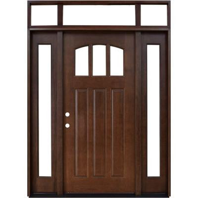 64 in. x 80 in. Craftsman 3 Lite Arch Stained Mahogany Wood Prehung Front Door with Sidelites and Transom