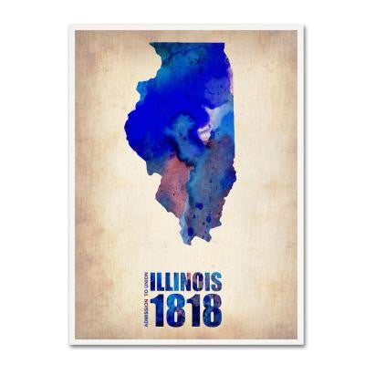47 in. x 35 in. Illinois Watercolor Map Canvas Art