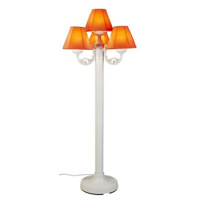 63 in. White Body Versailles Outdoor Floor Lamp with Sunbrella Fabric Shade