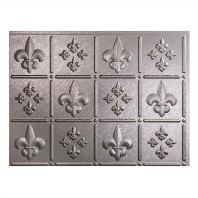 24 in. x 18 in. Fleur de Lis PVC Decorative Tile Backsplash in Galvanized Steel