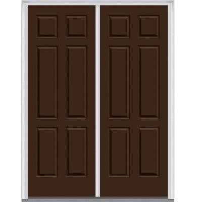 64 in. x 96 in. 6-Panel Painted Majestic Steel Double Prehung Front Door