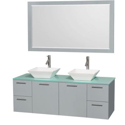 Amare 60 in. W x 22.25 in. D Vanity in Dove Gray with Glass Vanity Top in Green with White Basins and 58 in. Mirror