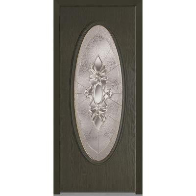 32 in. x 80 in. Heirloom Master Decorative Glass Full Oval Lite Finished Oak Fiberglass Prehung Front Door