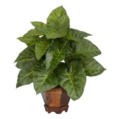 17 in. H Green Taro with Vase Silk Plant