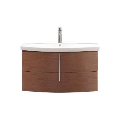 Siena 36 in. Vanity in Chestnut with Vitreous China Vanity Top in White