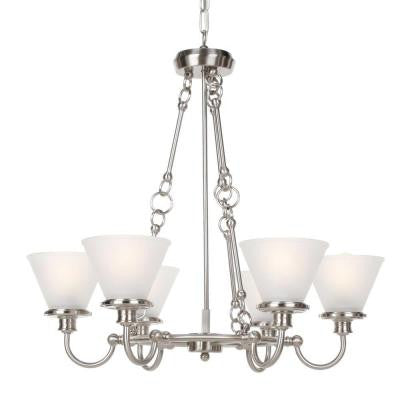 6-Light Brushed Nickel Chandelier