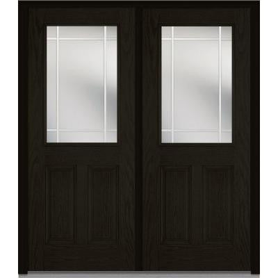 72 in. x 80 in. Classic Clear Glass PIM 1/2 Lite Finished Oak Fiberglass Double Prehung Front Door