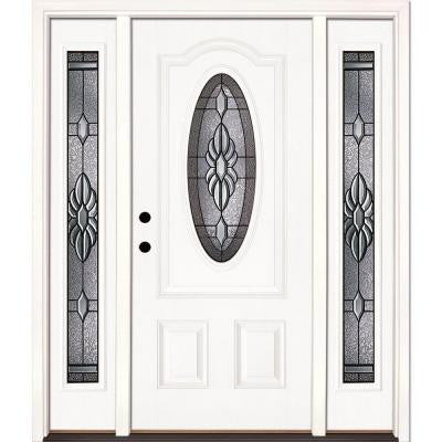 63.5 in. x 81.625 in. Sapphire Patina 3/4 Oval Lite Unfinished Smooth Fiberglass Prehung Front Door with Sidelites