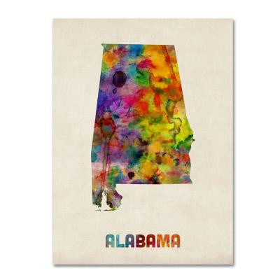 14 in. x 19 in. Alabama Map Canvas Art