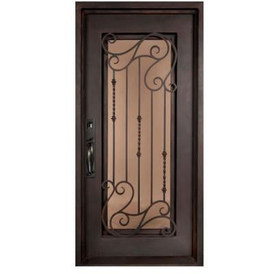 46 in. x 97.5 in. Armonia Classic Full Lite Painted Oil Rubbed Bronze Wrought Iron Prehung Front Door