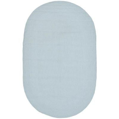 Braided Light Blue 5 ft. x 8 ft. Oval Area Rug