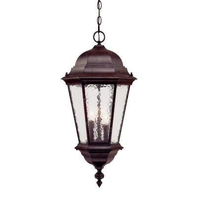 Telfair Collection Hanging Lantern 3-Light Outdoor Marbleized Mahogany Light Fixture