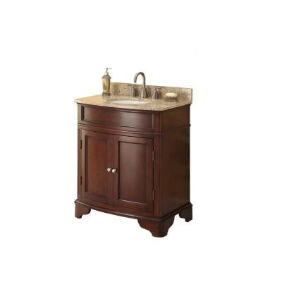 31 in. W x 35 in. H x 20 in. D Vanity in Cherry with Marble Vanity Top in Beige with White Basin