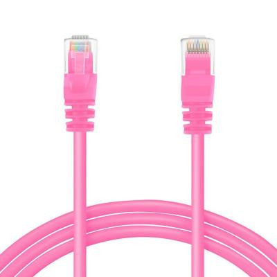 2 ft. Cat5e RJ45 Ethernet LAN Network Patch Cable - Pink (50-Pack)